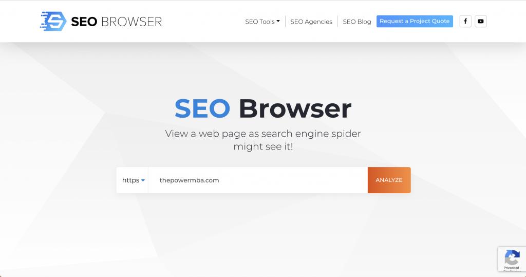 SEO Browser - herramientas SEO gratuitas