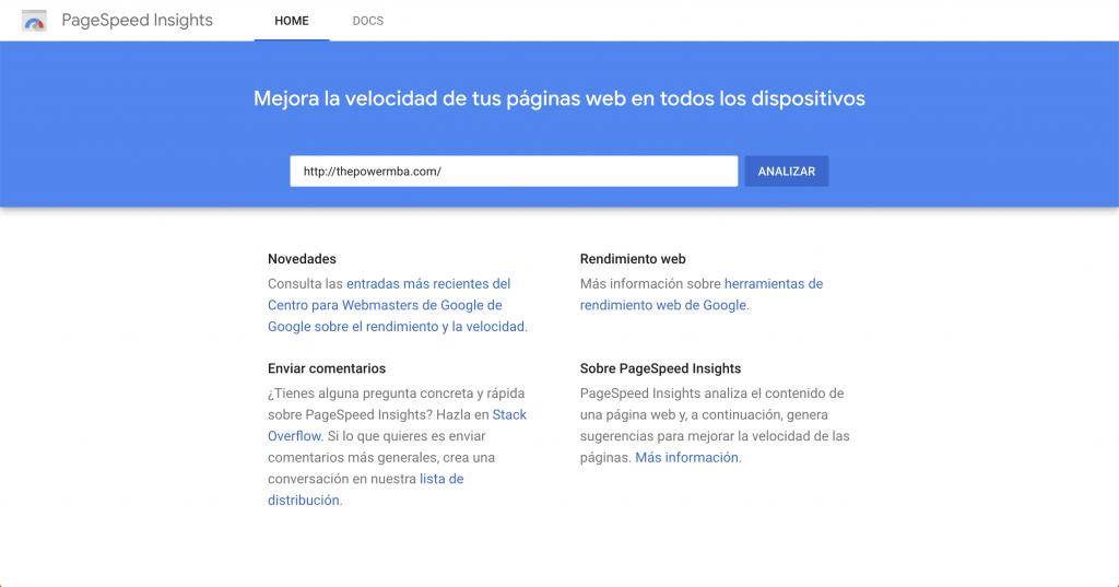 Google PageSpeed - herramientas SEO gratuitas