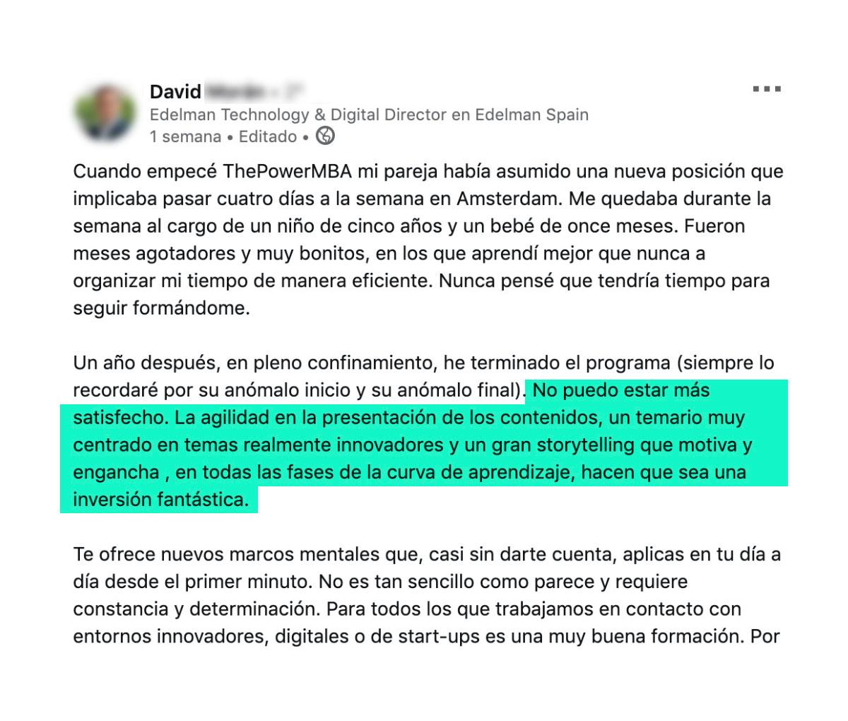 opinión de Sergio sobre ThePowerMBA