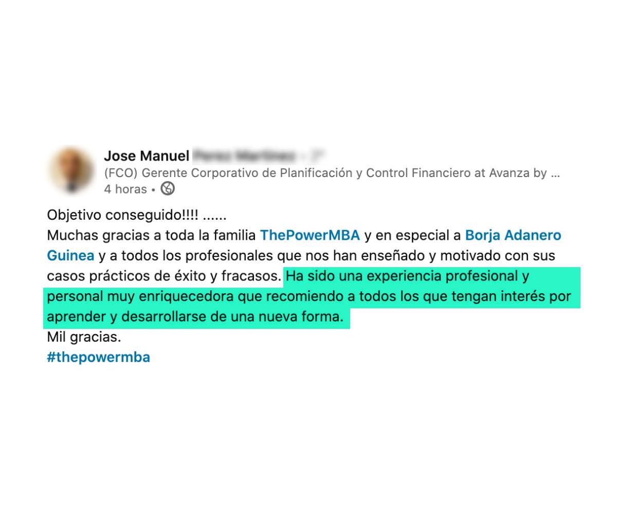 opinión de Jose Manuel sobre ThePowerMBA