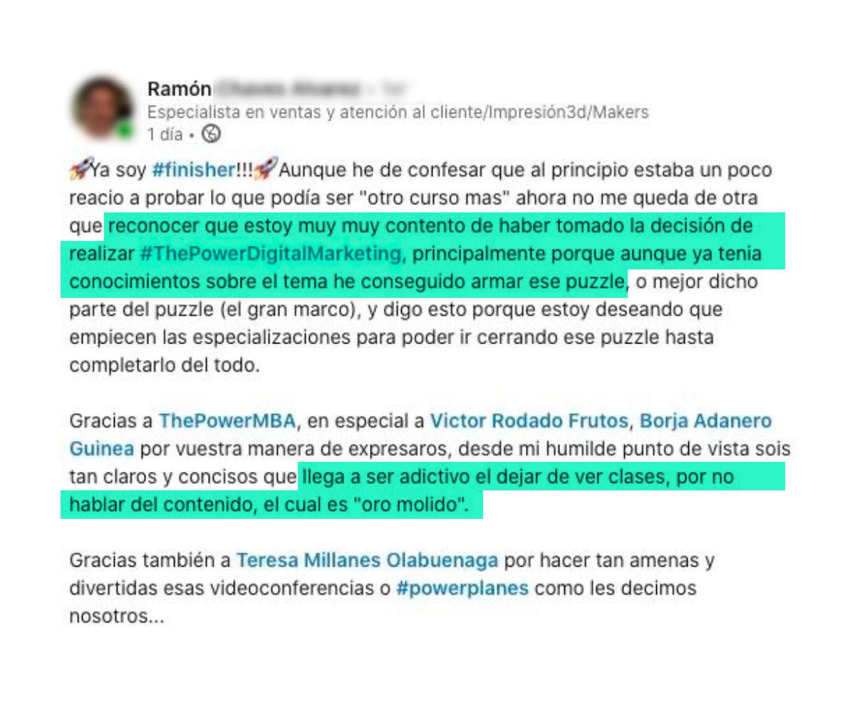 opinión de Ramón sobre ThePowerMBA